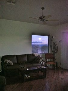 Part of the living room at sunset