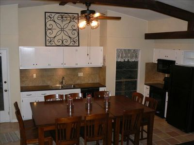 New appliances in remodeled kitchen, dinning table will seat 10-16