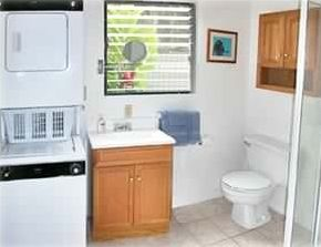 Washer and dryer included in bathroom