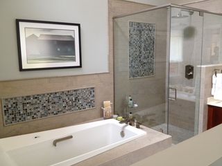 Bedford house photo - Master bath with jetted soaking tub and rain showerhead