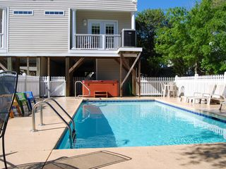 Surfside Beach house photo - Backyard with Private Pool, Hot Tub and Seating