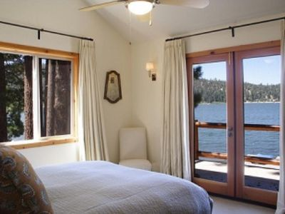 3 lakefront bedrooms with doors to huge deck.