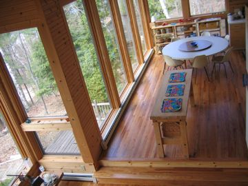View from loft to dining area