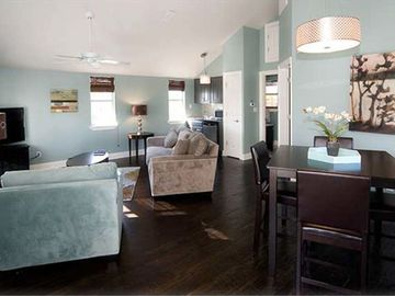 Carriage House: Living room, dining, kitchenette. Private bedroom. Full bathroom