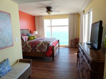 Sterling Reef Resort condo rental - Master Bedroom with outstanding views and balcony access.