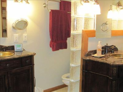 Indianapolis house rental - Master Bath, with double sink, and tile shower.