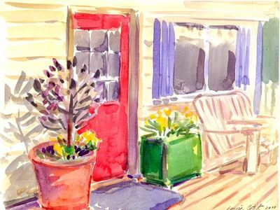 The Red Door, by Louise Cook from Saskatoon, water colour original