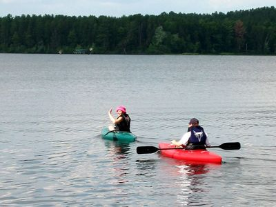 Explore the bays and coves with our 2 kayaks and canoe.