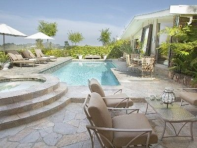 Pool and out door entertainment seating areas and spa