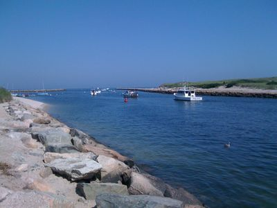 Sesuit Harbor a 5 min walk to casual outdoor dining at the Marina