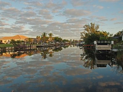 Cape Coral house rental - View of canal before sunset