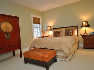 Lenox house photo - Rear bedroom has private bath with view of garden & woods