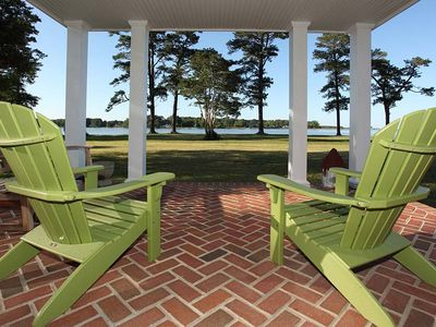 The porch offers yacht watching leading to the Mathews Yacht Club.