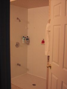Shower in main bathroom is wheelchair accessible.