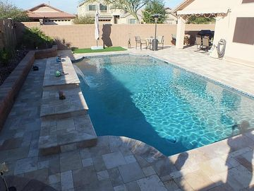 San Tan Valley house rental - Swimming pool/deck area. Note: Artificial turf patch w/ large umbrella.