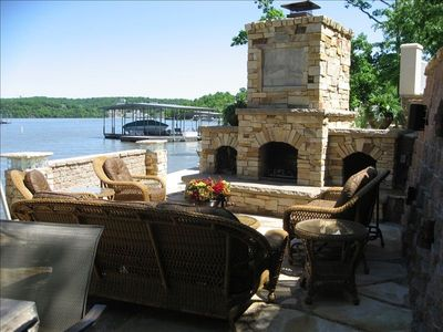 Lake side patio with fireplace