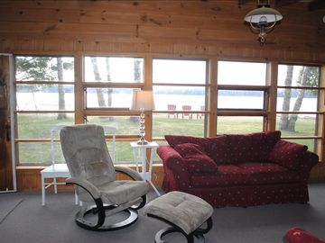 Living room and view of Lower Herring Lake