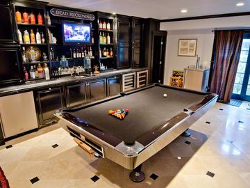 Pool Room Features Tournament Table With Wet Bar, 2 Wine Refrigerators, Beer Tap, Ice Machine & Dishwasher, Flat Screen TV