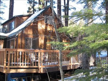 Heavenly Valley cabin rental - View of cabin from back yard and deck area, wooded with beautiful aspen trees!