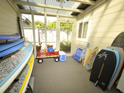 Surfboard Room with toys