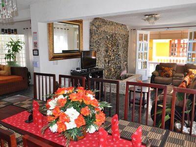 Cabarete villa rental - Villa Flamingo Dining and Living Rooms