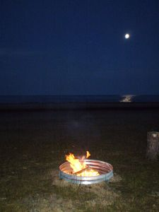 Firepit on beach.