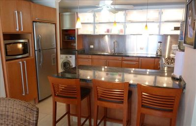 Villa 324: Kitchen with all stainless steel appliances, modern, full equipped.