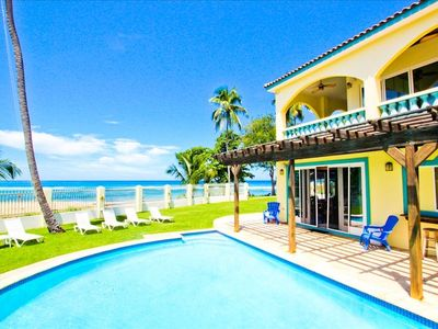 Gorgeous 5 bedroom beachfront estate with heated pool on Maria's Beach