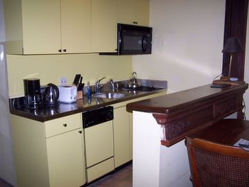 Looking southwest: kitchenette w/ sink, dishwasher,2 burner gas stove,appliances