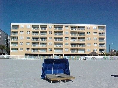 Photo of Beach Place from the Beach (our unit is the top left corner unit)
