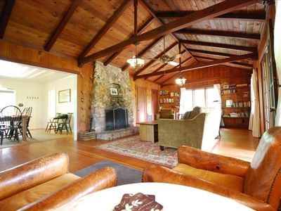 "Great room: true lodge feel with rock fireplace, forest views, 50"" TV Cable DVR"
