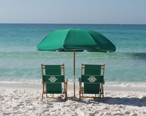 Free Beach Set-up Usage (Umbrella & 2 Chairs) - Islander Destin condo vacation rental photo