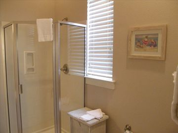 Main Level Bathroom w/ Walk-in Shower. Accessible Thru Twin Bedroom & Kitchen