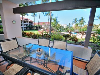 Step out to the lanai - the perfect place to enjoy a meal rain or shine.