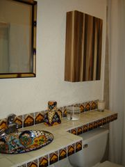 Akumal house photo - Mexican hand-painted Talavera tile and sink in the bathroom