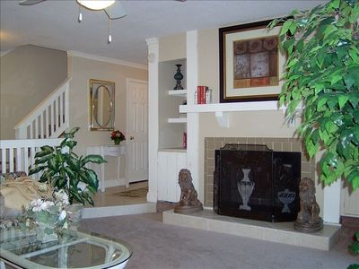 "Sunken LR w/ fireplace, 42"" HD TV/DVD, stereo opening to private 2 tiered deck"