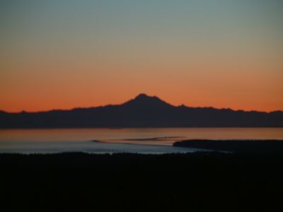 Mt. Baker looming behind the Dungeness Spit in Sequim.