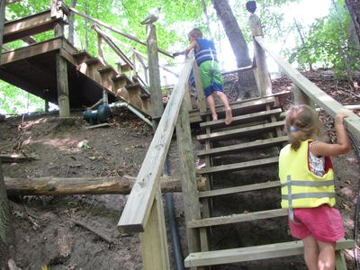 Silver Lake cottage rental - Steps going up from the dock.