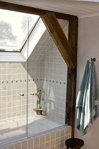 shower and skylight in master bath