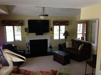 Leather recliner, 2 sleeper sofas and fireplace