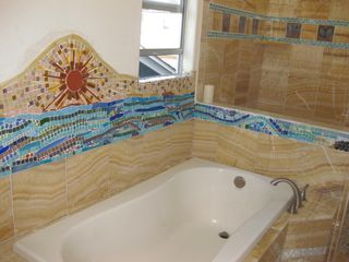 Ocean Beach house photo - Over-sized tub and custom shower.