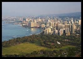 The view of Waikiki and The Waikiki Grand Hotel from the top of Diamond Head.