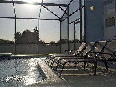 Our south west facing pool offers ample lounge space for relaxing in the sun.