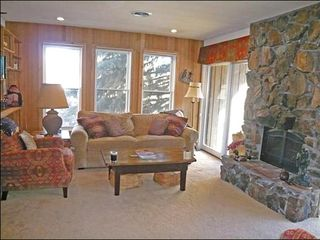 Ketchum townhome photo - Living Room with Large Stone Fireplace