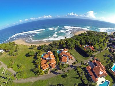Aerial View of Villa Gordon On Beach/Ocean Front (Villa On Far Left)