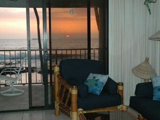 Kailua Kona condo photo - Living Room, looking out at Sunset!