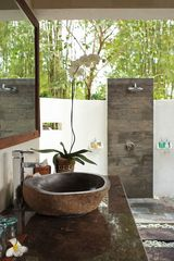 Open air bathroom viewing bamboo forest - Ubud villa vacation rental photo