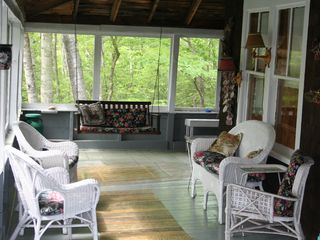 Woodstock lodge photo - Relax on large wrap-around screened porch