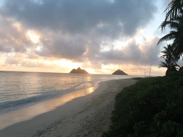 5 miles down the road- a walk at sunrise on Lanikai beach?......