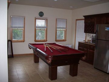 New Game Room with an Olhausen billiard table and wet bar!